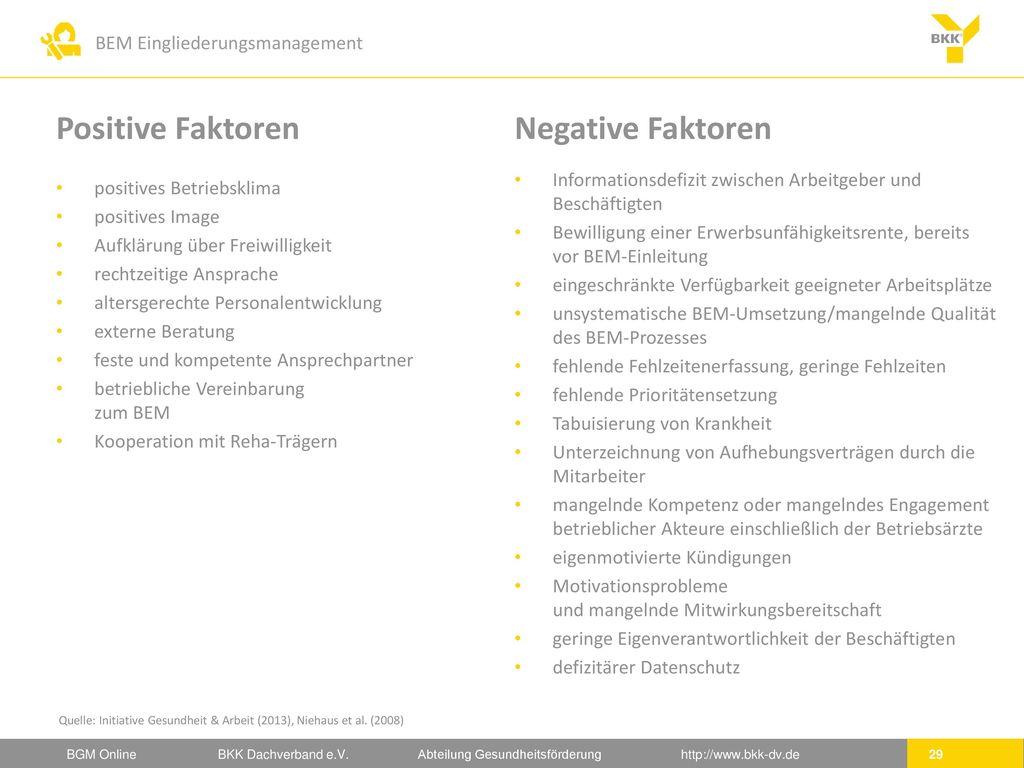 Positive Faktoren Negative Faktoren