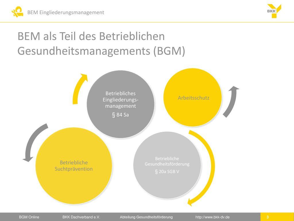 BEM als Teil des Betrieblichen Gesundheitsmanagements (BGM)