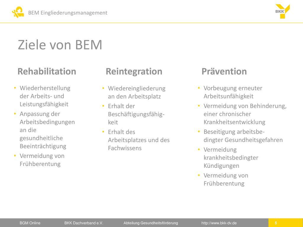 Ziele von BEM Rehabilitation Reintegration Prävention