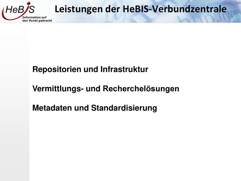 Leistungen der HeBIS-Verbundzentrale