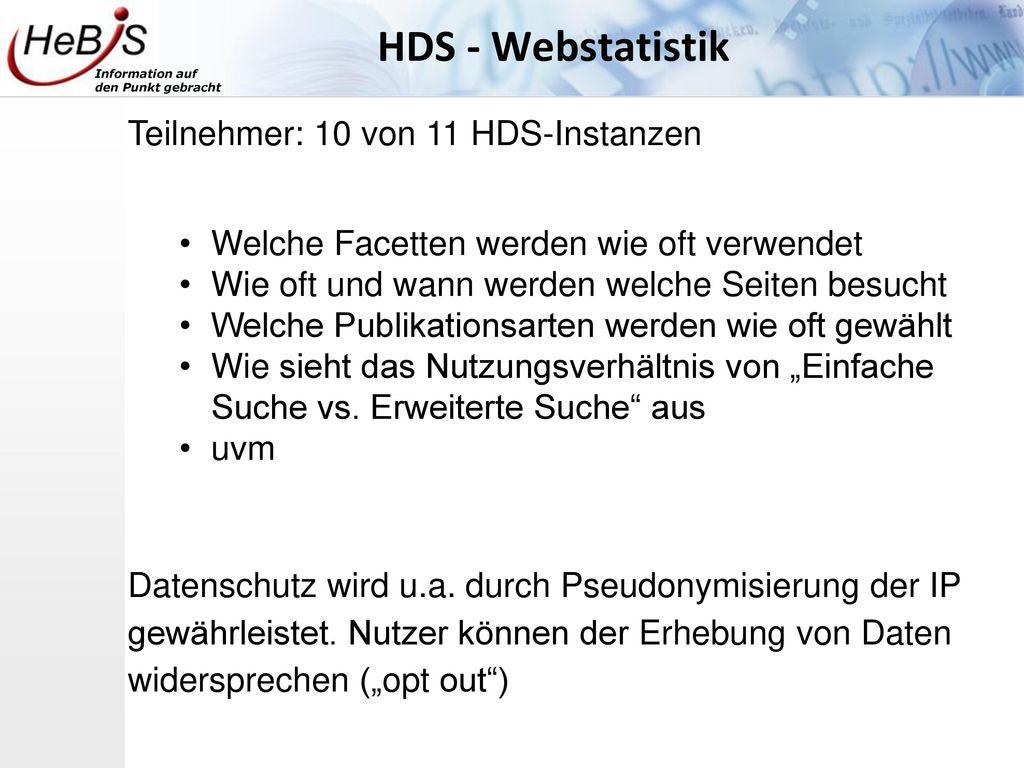 HDS - Webstatistik Teilnehmer: 10 von 11 HDS-Instanzen