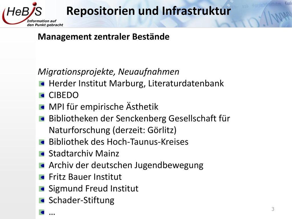 Repositorien und Infrastruktur