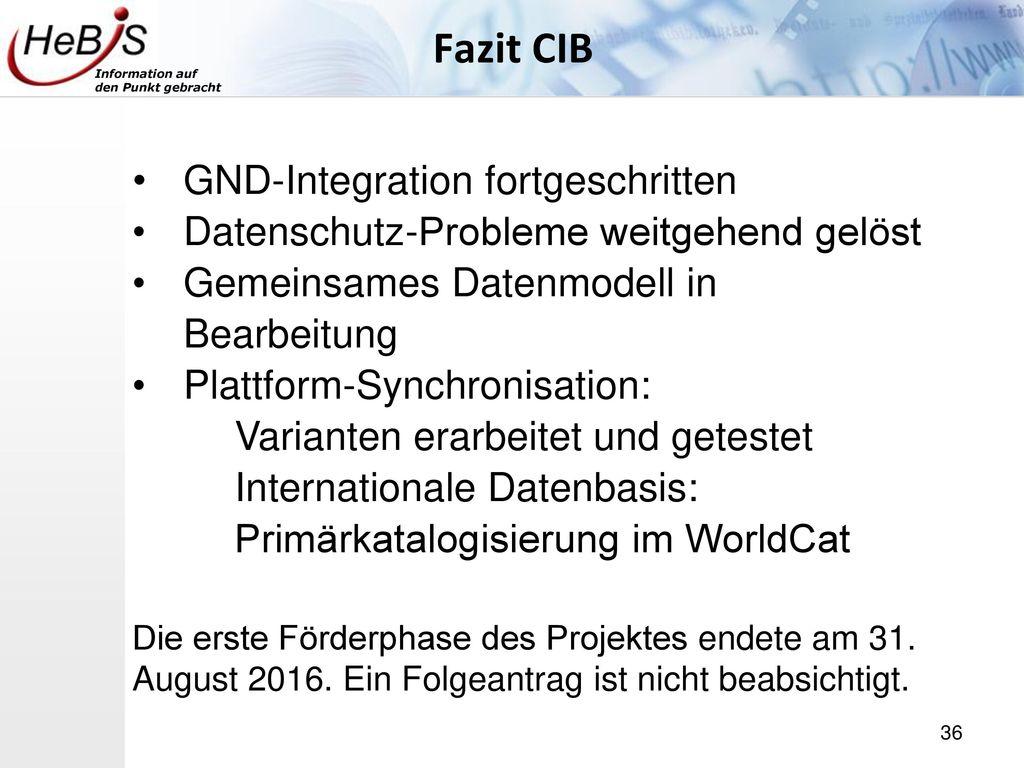 Fazit CIB GND-Integration fortgeschritten