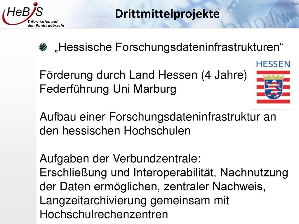 "Drittmittelprojekte ""Hessische Forschungsdateninfrastrukturen"