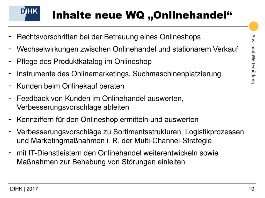 """Inhalte neue WQ """"Onlinehandel"""