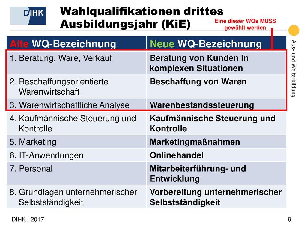 Wahlqualifikationen drittes Ausbildungsjahr (KiE)