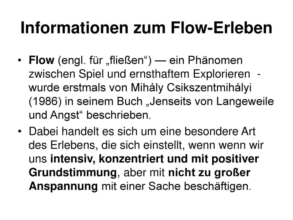 Informationen zum Flow-Erleben
