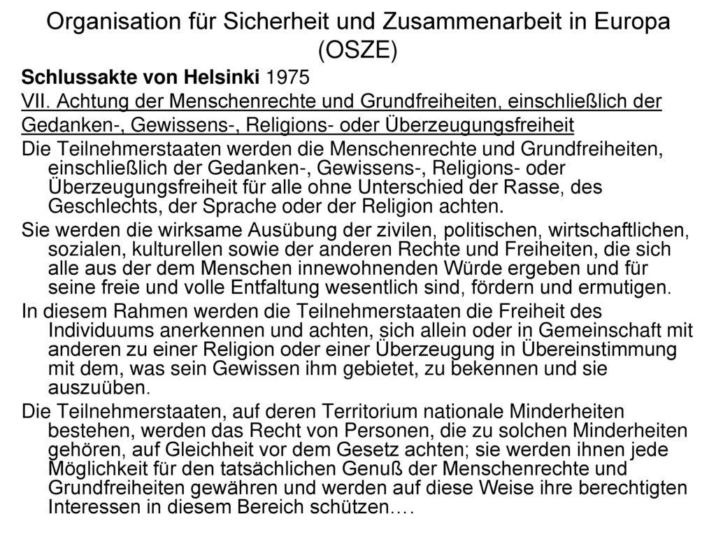 Organisation für Sicherheit und Zusammenarbeit in Europa (OSZE)