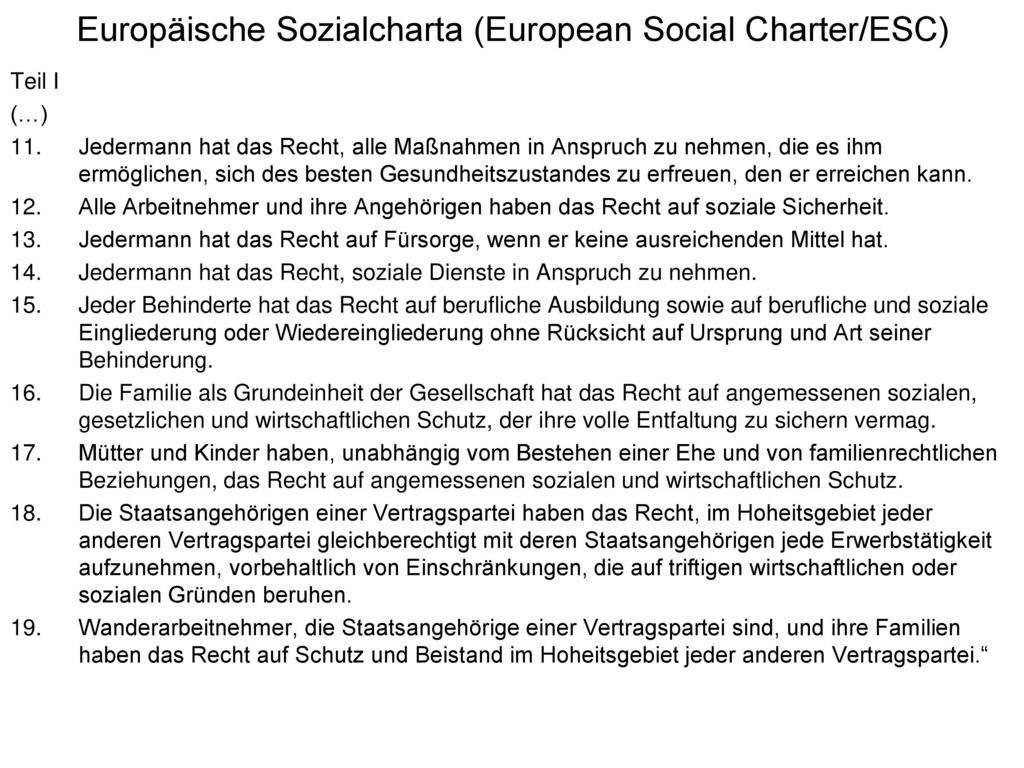 Europäische Sozialcharta (European Social Charter/ESC)