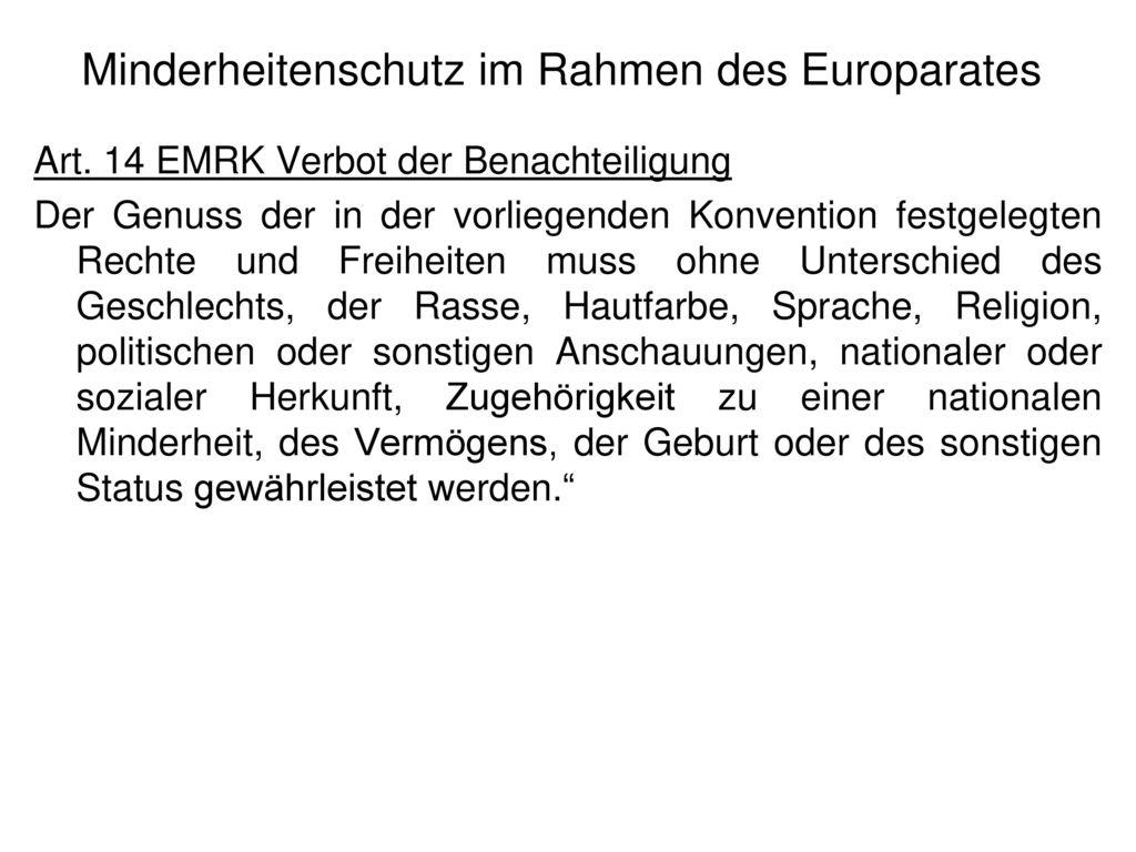 Minderheitenschutz im Rahmen des Europarates