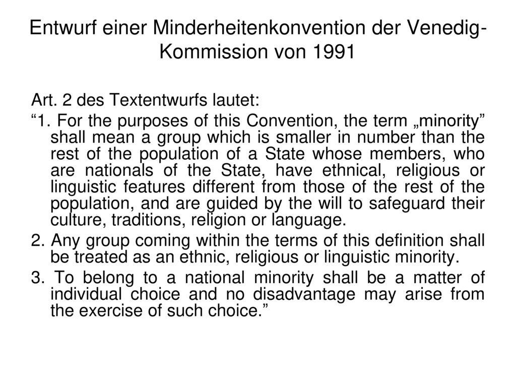 Entwurf einer Minderheitenkonvention der Venedig-Kommission von 1991