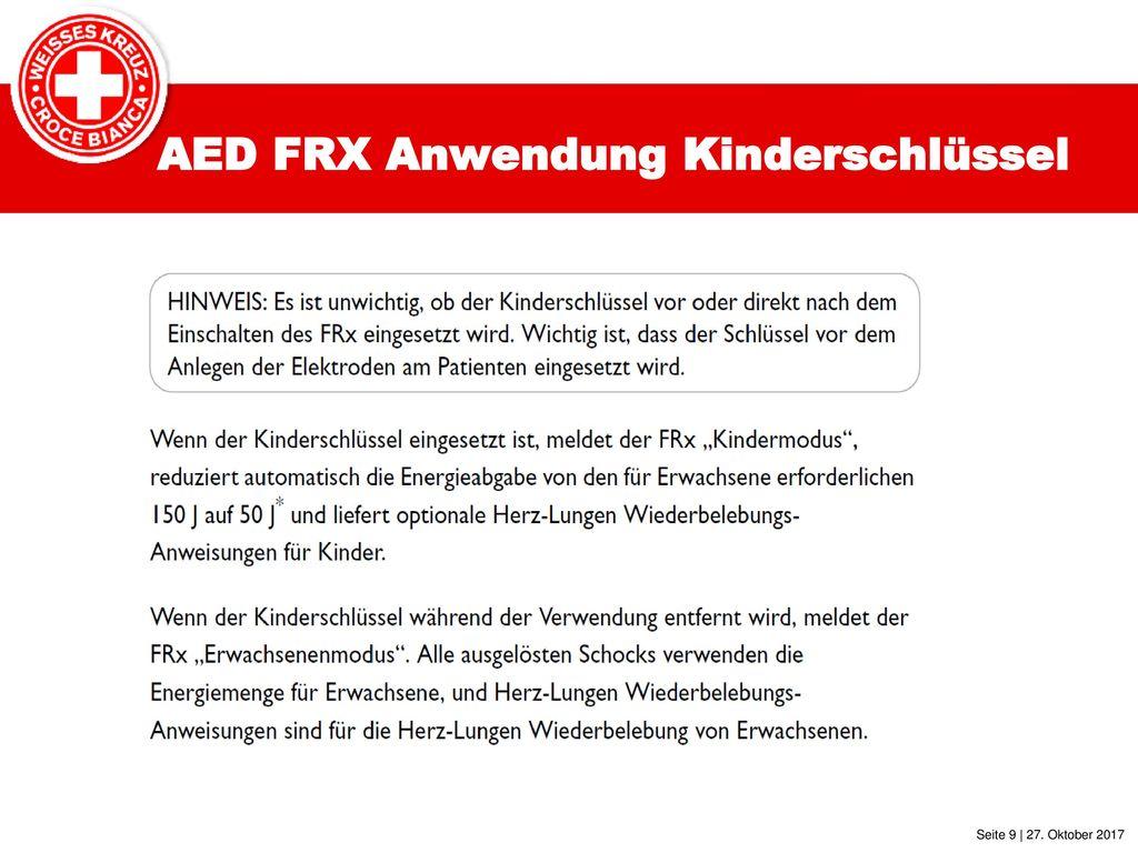 AED FRX Anwendung Kinderschlüssel