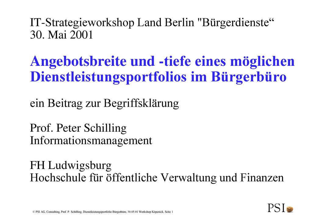 IT-Strategieworkshop Land Berlin Bürgerdienste