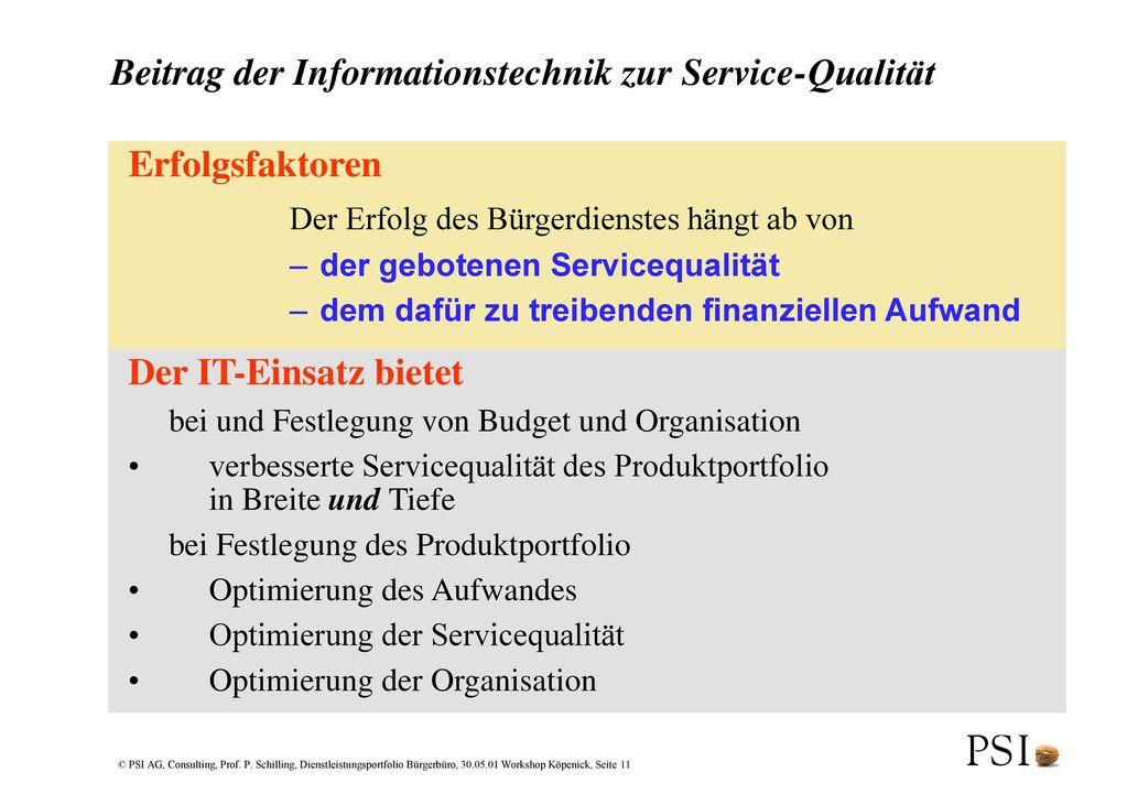Beitrag der Informationstechnik zur Service-Qualität
