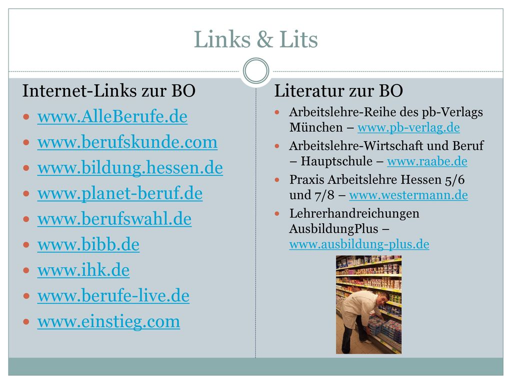 Links & Lits Internet-Links zur BO