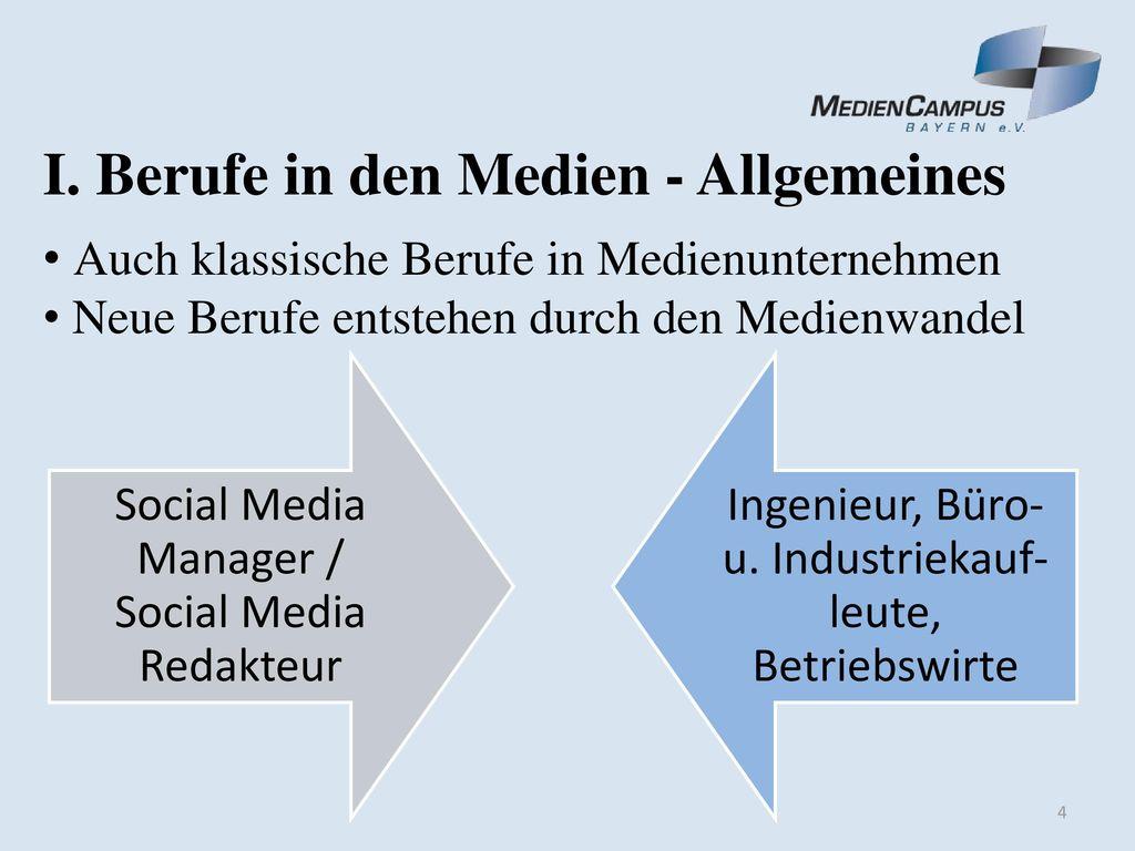 I. Berufe in den Medien - Allgemeines
