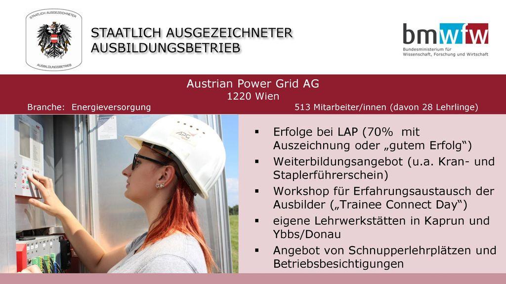 Branche: Energieversorgung 513 Mitarbeiter/innen (davon 28 Lehrlinge)