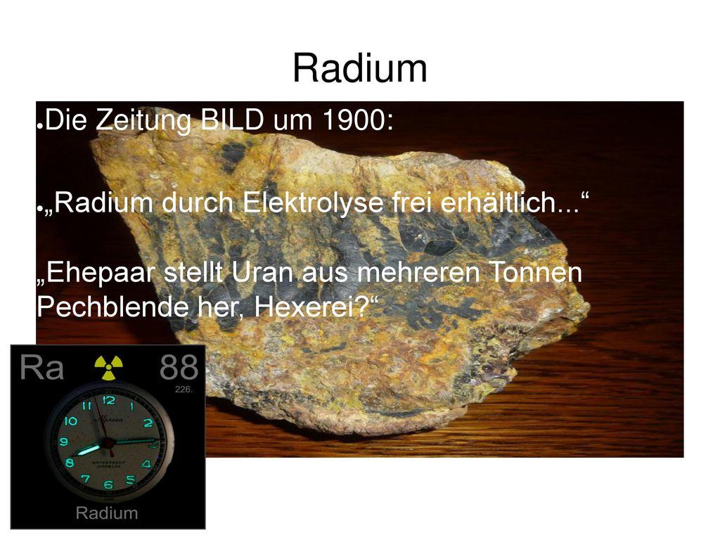 Radium Die Zeitung BILD um 1900:
