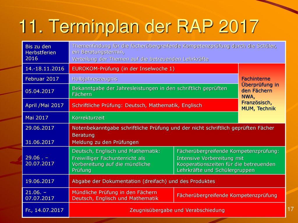 11. Terminplan der RAP 2017 Bis zu den Herbstferien 2016