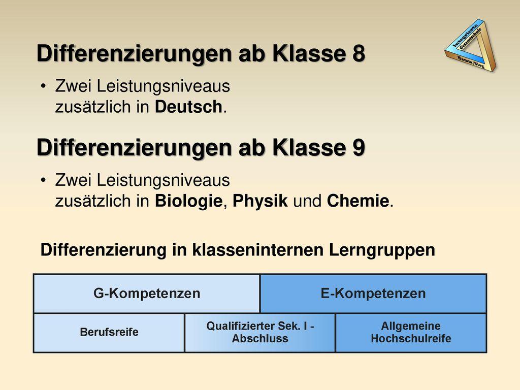 Differenzierungen ab Klasse 8