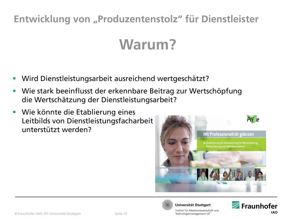 """Entwicklung von """"Produzentenstolz für Dienstleister"""