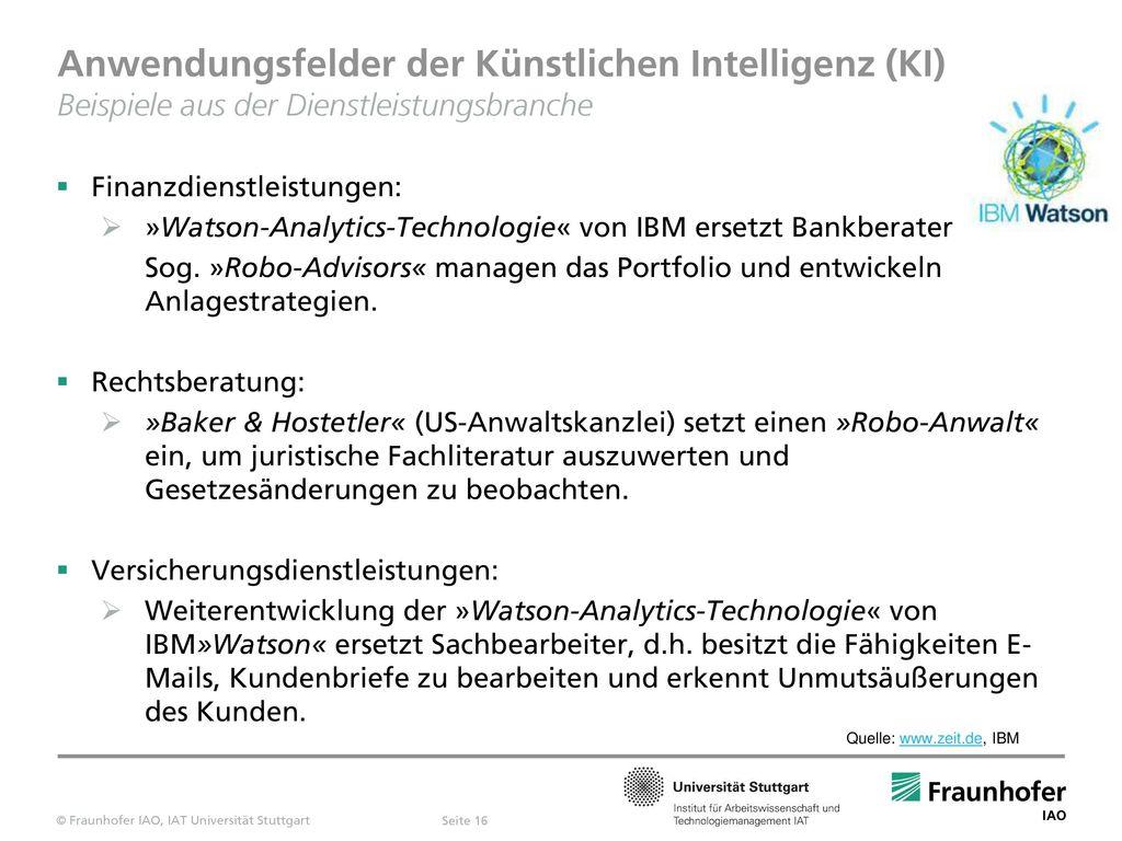 Anwendungsfelder der Künstlichen Intelligenz (KI) Beispiele aus der Dienstleistungsbranche