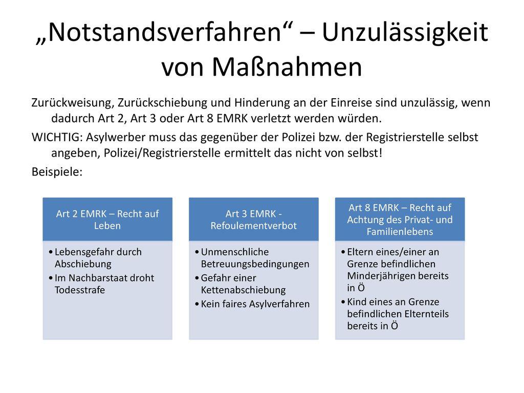 """""""Notstandsverfahren – Unzulässigkeit von Maßnahmen"""