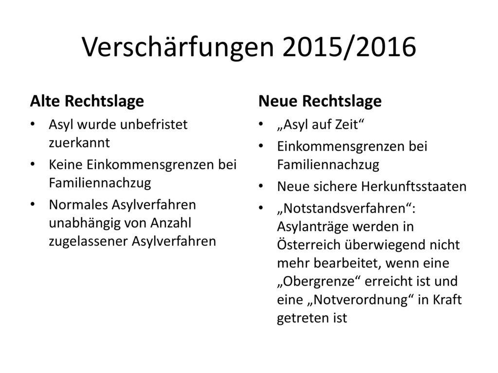 Verschärfungen 2015/2016 Alte Rechtslage Neue Rechtslage
