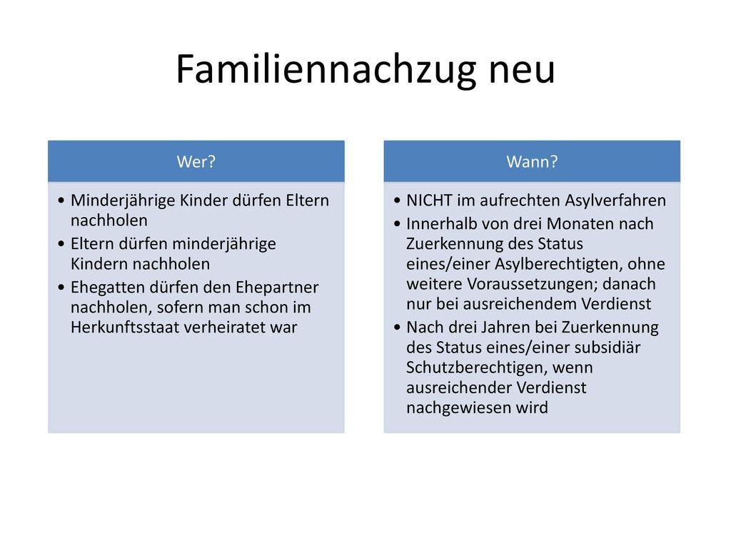 Familiennachzug neu Wer Minderjährige Kinder dürfen Eltern nachholen