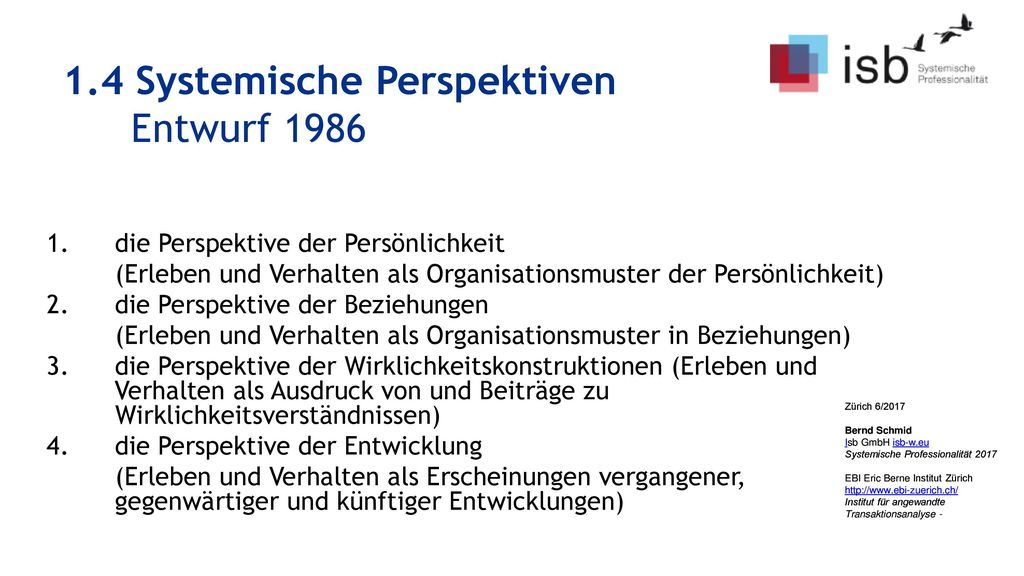 1.4 Systemische Perspektiven Entwurf 1986