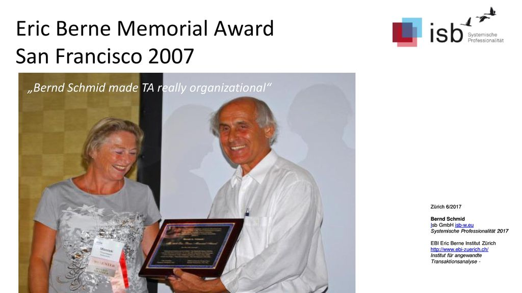 Eric Berne Memorial Award San Francisco 2007