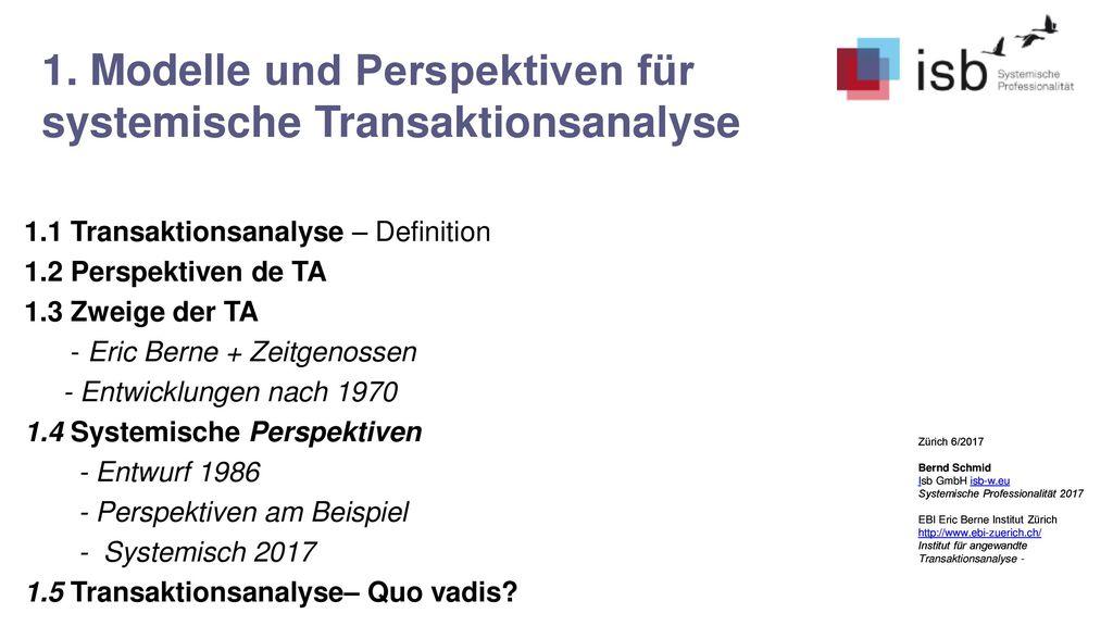 1. Modelle und Perspektiven für systemische Transaktionsanalyse