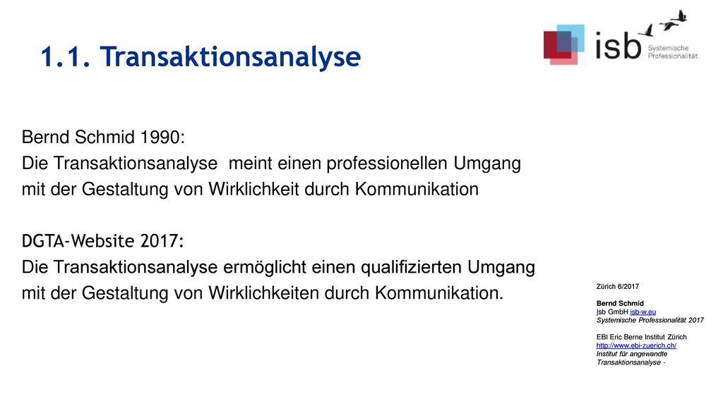 1.1. Transaktionsanalyse Bernd Schmid 1990:
