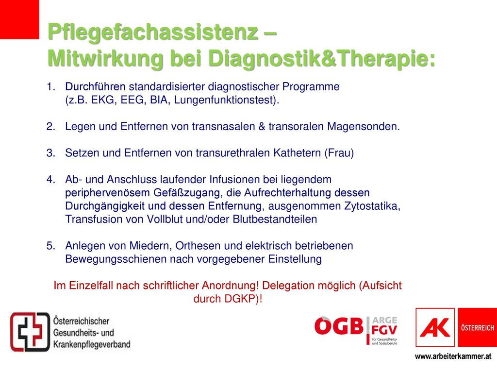 Pflegefachassistenz – Mitwirkung bei Diagnostik&Therapie: