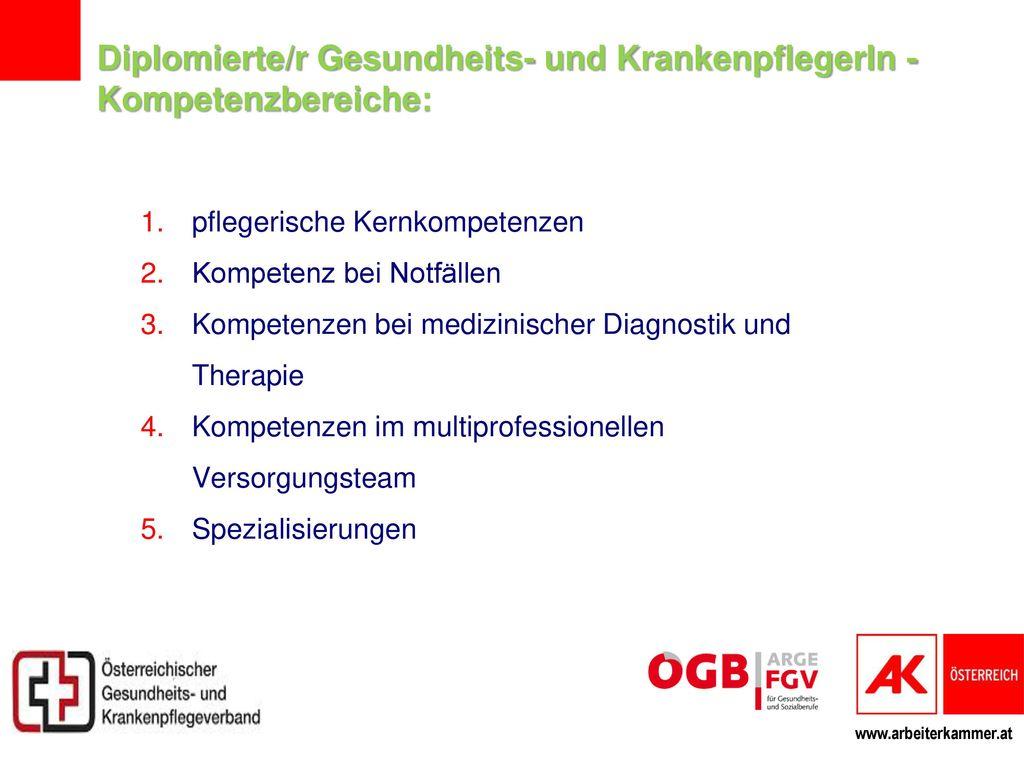 Diplomierte/r Gesundheits- und KrankenpflegerIn - Kompetenzbereiche: