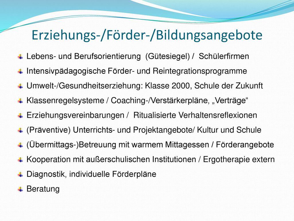Erziehungs-/Förder-/Bildungsangebote