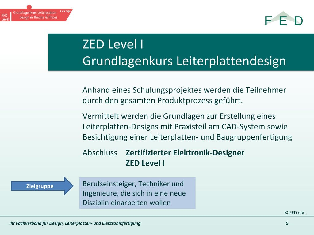 ZED Level I Grundlagenkurs Leiterplattendesign