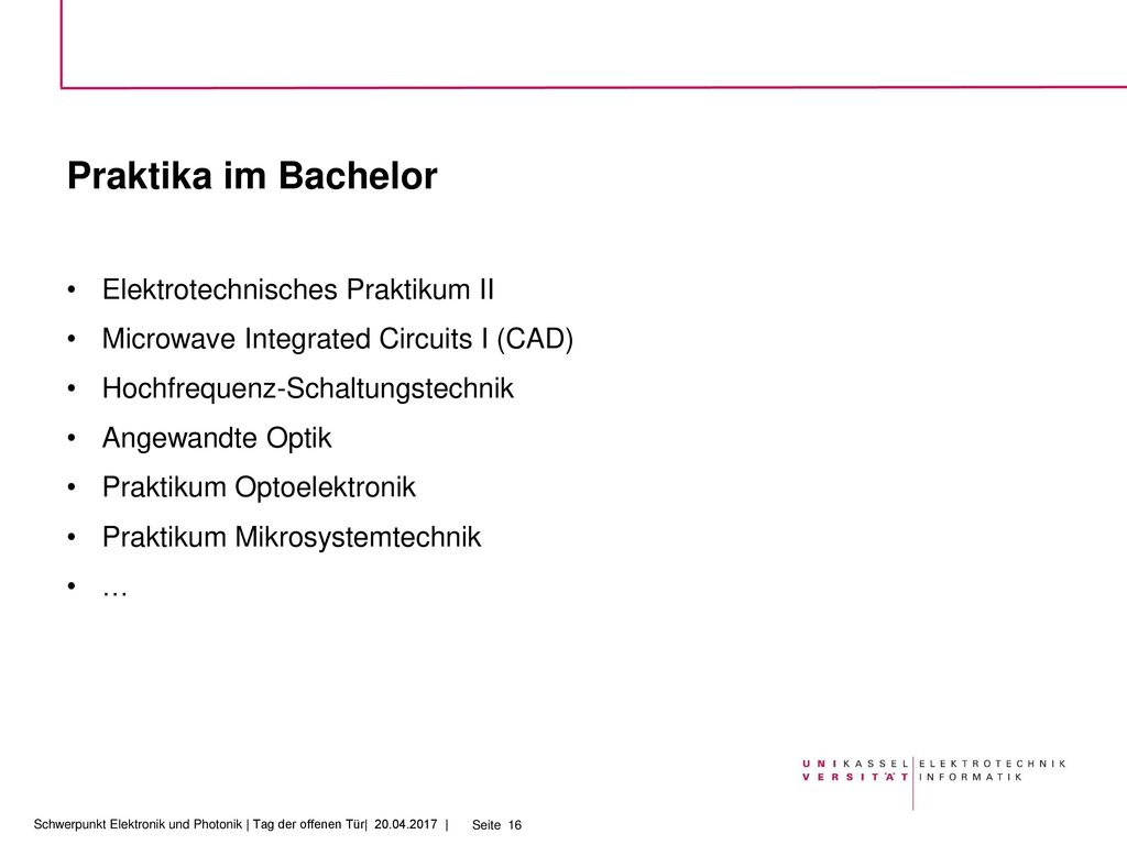 Praktika im Bachelor Elektrotechnisches Praktikum II