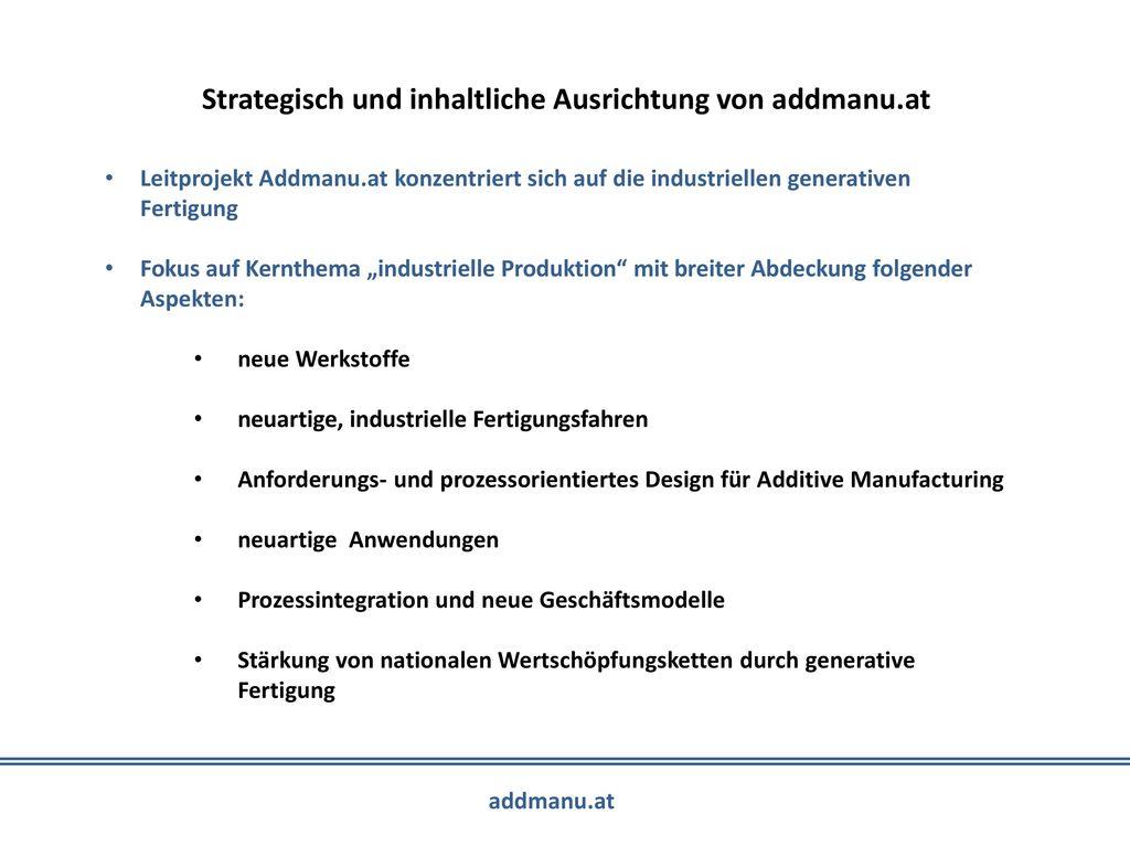 Strategisch und inhaltliche Ausrichtung von addmanu.at