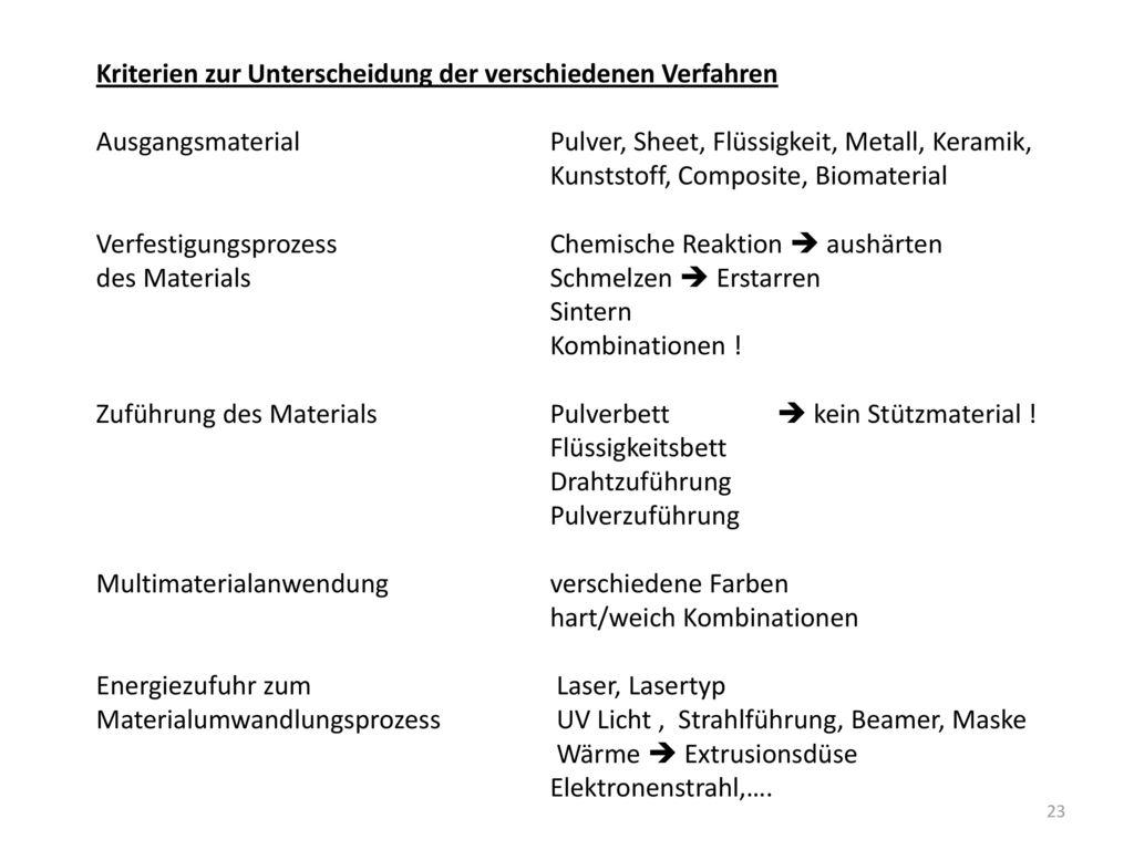 Kriterien zur Unterscheidung der verschiedenen Verfahren