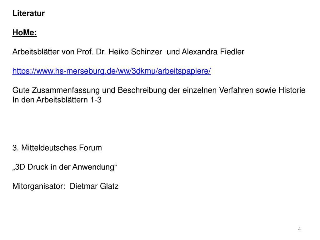 Arbeitsblätter von Prof. Dr. Heiko Schinzer und Alexandra Fiedler