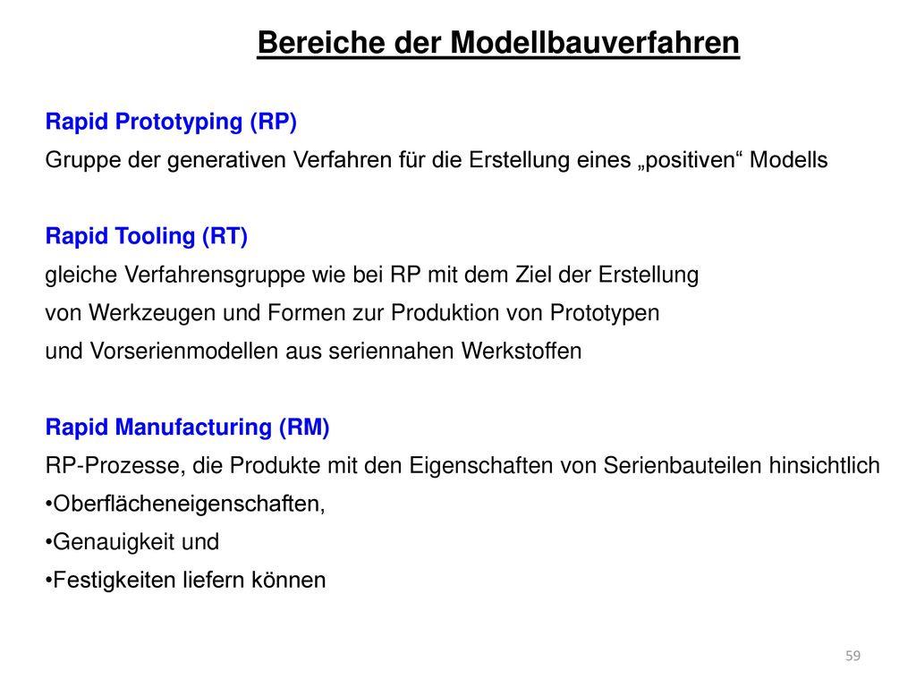 Bereiche der Modellbauverfahren