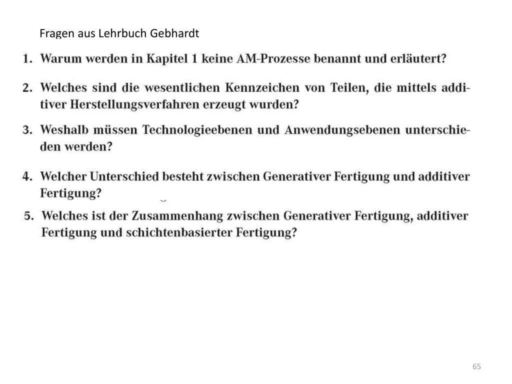 Fragen aus Lehrbuch Gebhardt