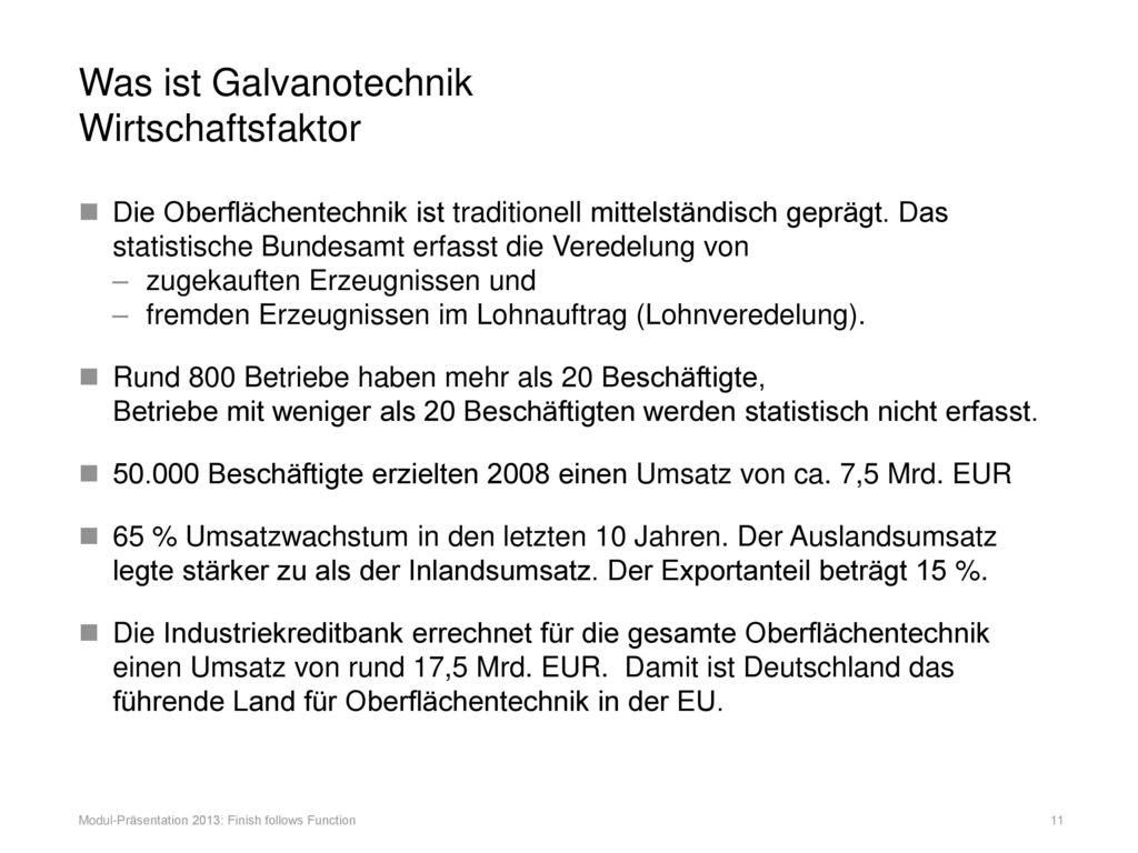 Was ist Galvanotechnik Wirtschaftsfaktor