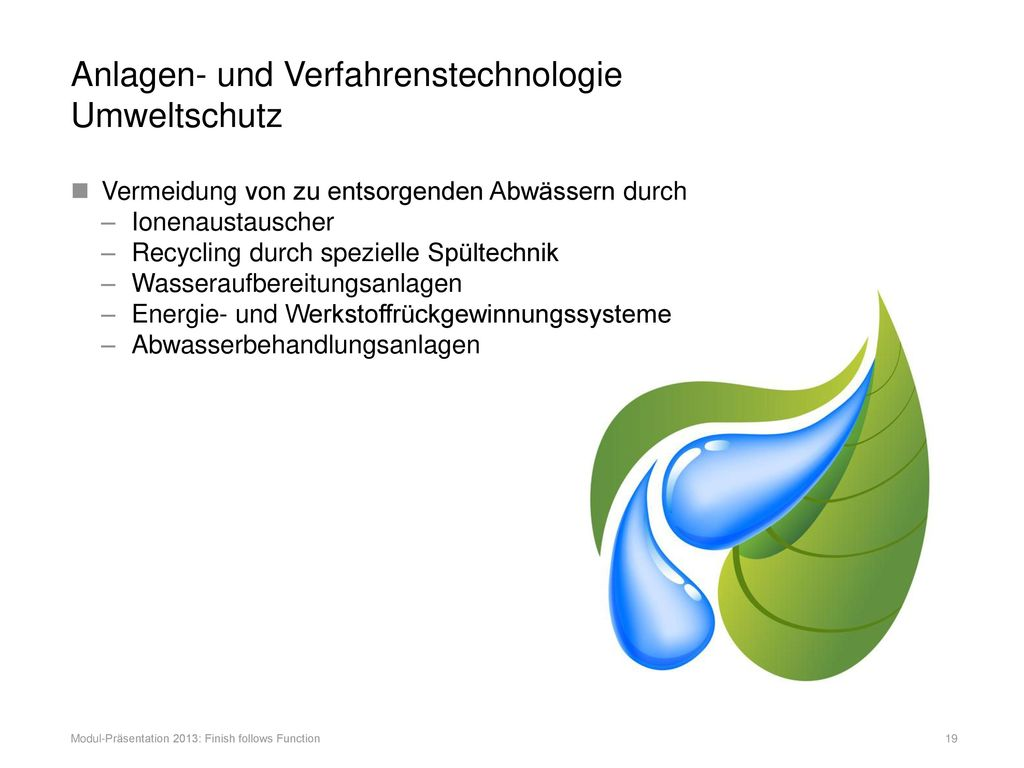 Anlagen- und Verfahrenstechnologie Umweltschutz