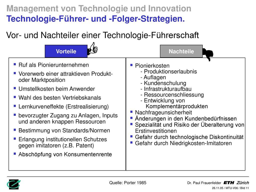 Vor- und Nachteiler einer Technologie-Führerschaft