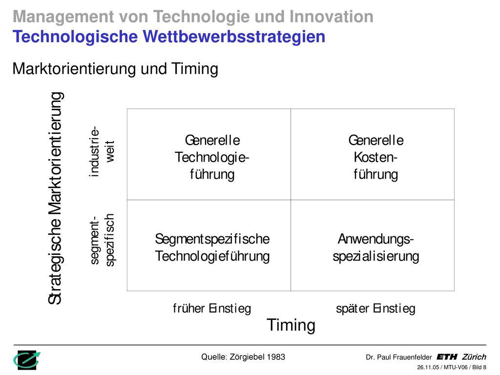 Management von Technologie und Innovation Technologische Wettbewerbsstrategien