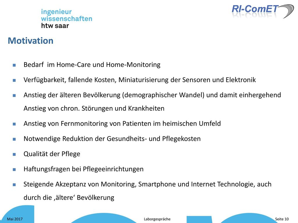 Motivation Bedarf im Home-Care und Home-Monitoring