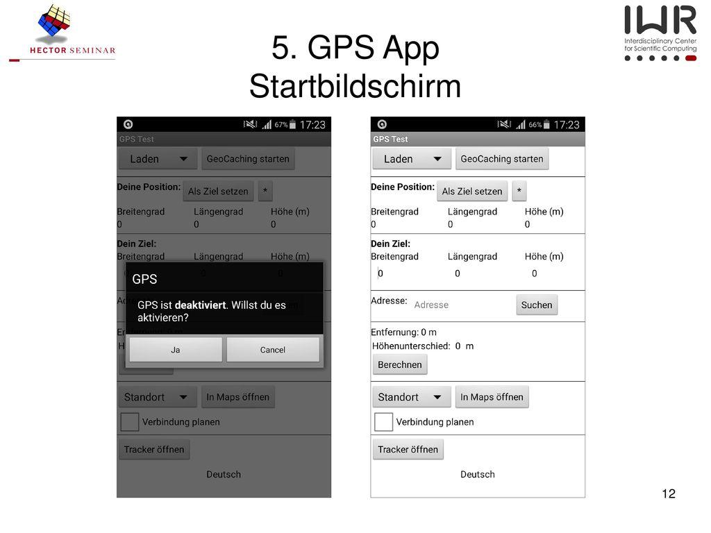 5. GPS App Startbildschirm