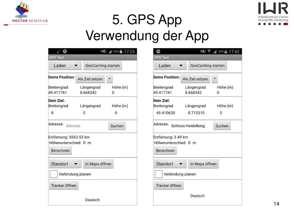 5. GPS App Verwendung der App